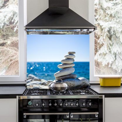 Pebbles Stack Over BlueSea hob splashback