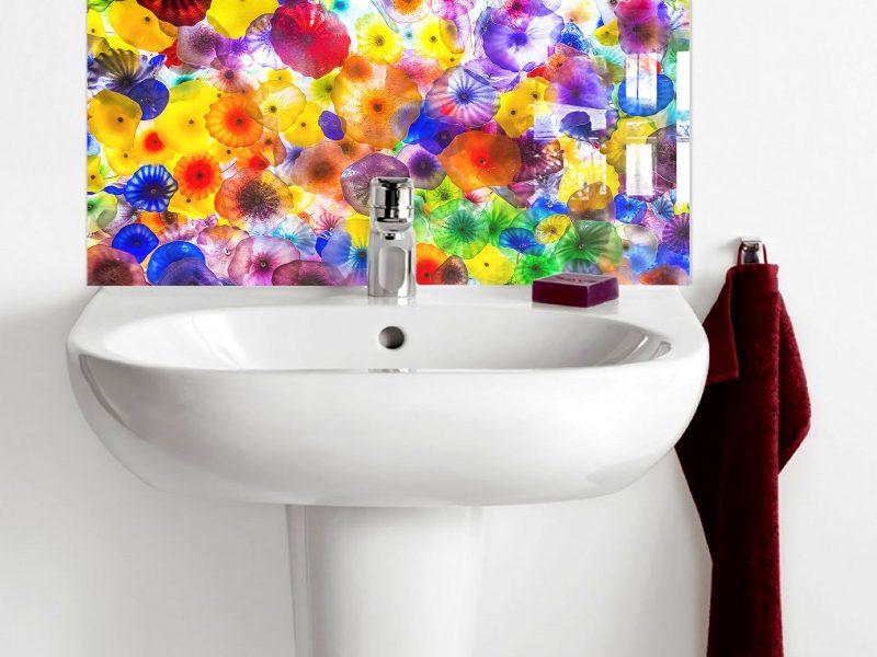 Hand Blown Glass Patterns Basin Splashback