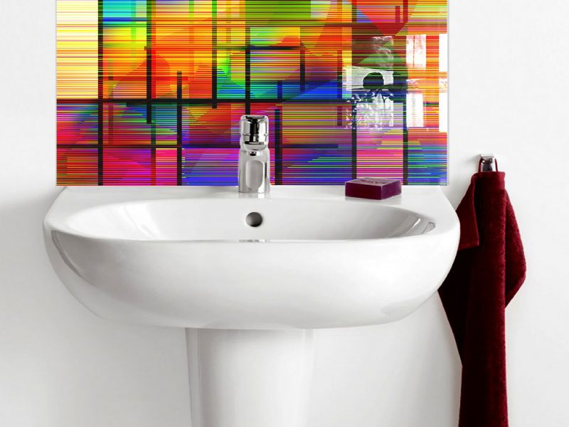 Multi-Coloured Line Abstract Basin Splashback
