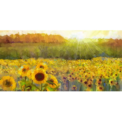 Oil Paint of Sunflower Field Basin Splashback