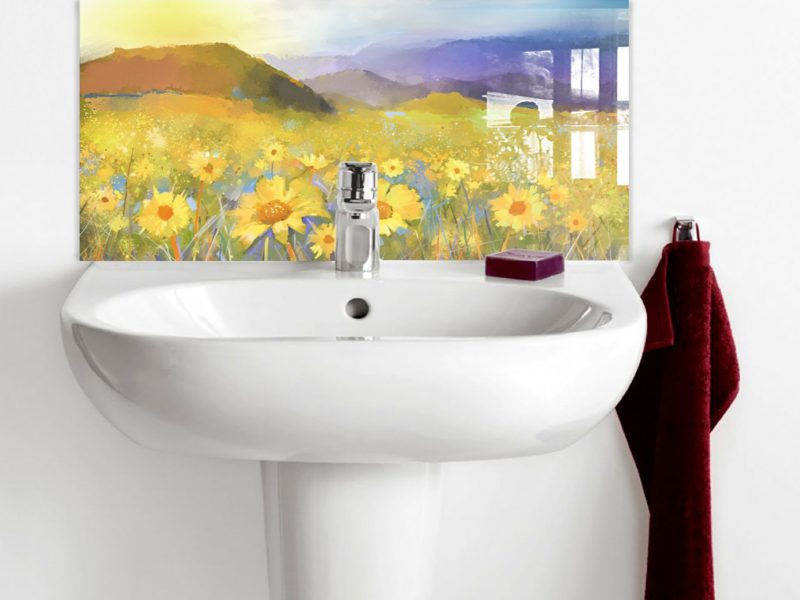 Oil paint of Mountains Sunflower field Basin Splashback