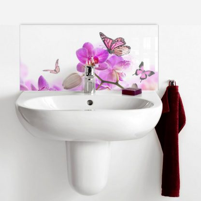 Purple Orchid with Butterfly Basin Splashback