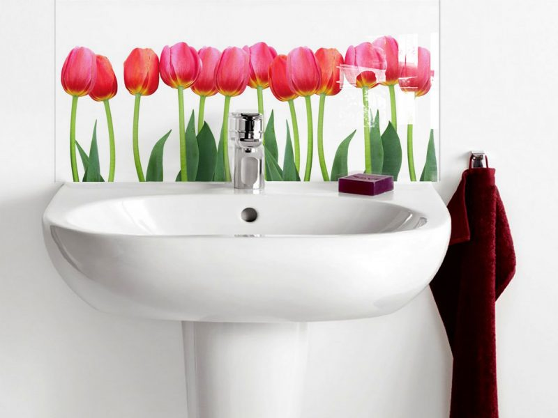 Row of Red Tulips Basin Splashback