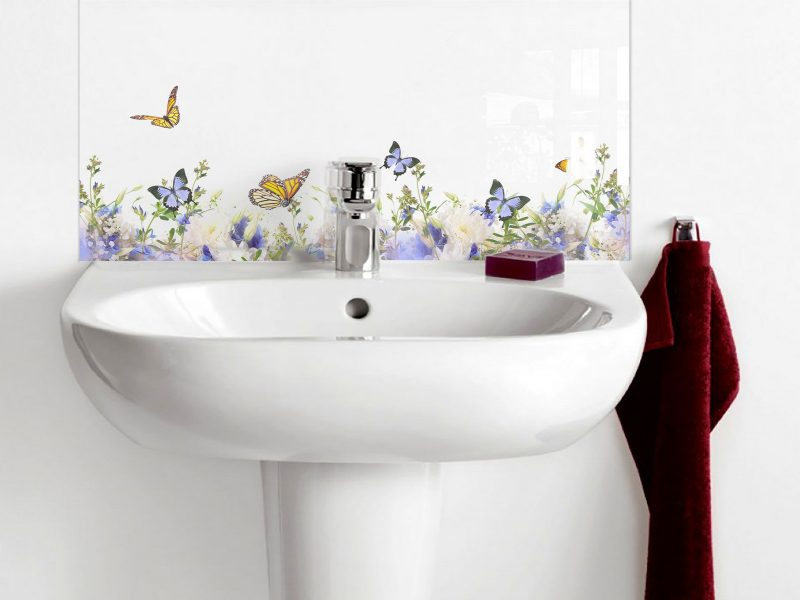 Soft Tone Flower and Butterfly Basin Splashback
