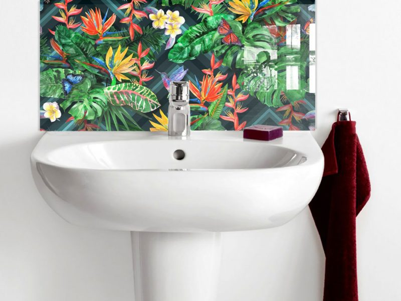 Tropical Plants with Birds Basin Splashback