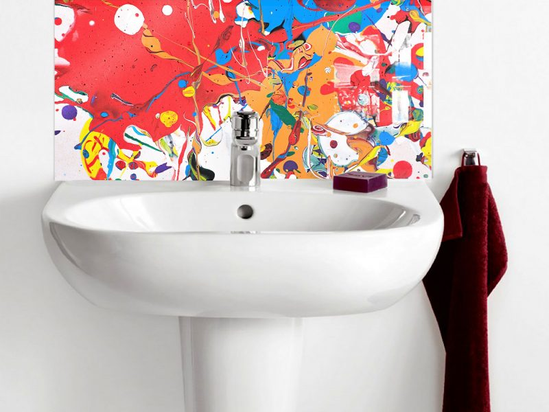 Rainbow Splash Texture Basin Splashback