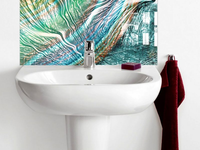 Water Ripple Effect Marble Basin Splashback