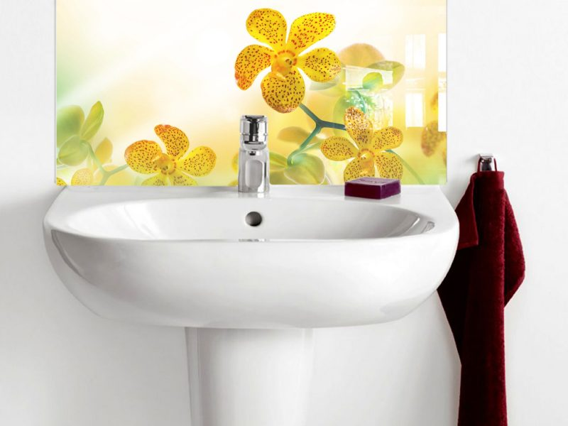 Yellow Tropical Orchids Basin Splashback